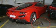Ferrari F8 besetzt gleich 2 Parkplätze in Wiener Garage