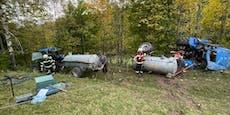 Mann stürzt mit Traktor 200 Meter ab, holt selbst Hilfe
