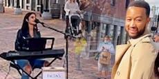 Straßenmusikerin singt Legend-Song, dann steht er da