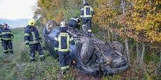 Pkw-Salto nach Kollision auf der A2, Lenker verletzt