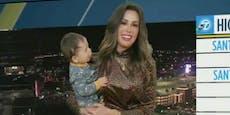 Baby stiehlt Wetter-Lady im TV die Show