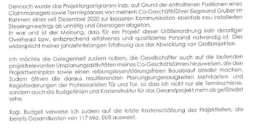 Diese Passage sorgt für Wirbel: Demnach weist eine Kostenschätzung Gesamtkosten von 117 Mio. Euro auf.