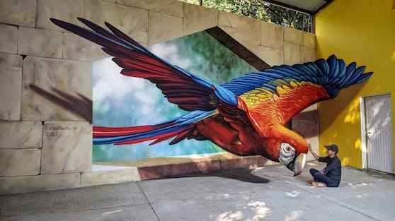 Der mexikanische Künstler Carlos Alberto bedient sich einer raffinierten Technik: anamorphotischen Malerei.
