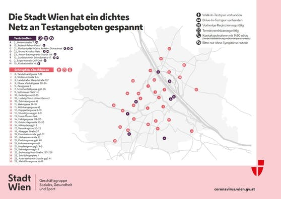 Alle Teststandorte der Stadt Wien im Überblick.