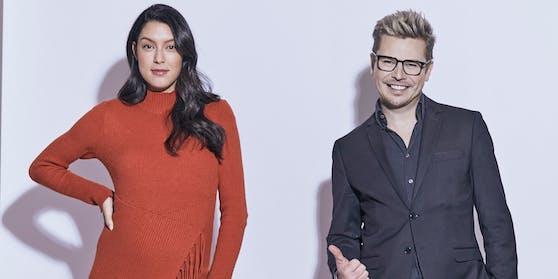 Schön schwanger: Rebecca Mir mit Bauch neben Adi Weiss