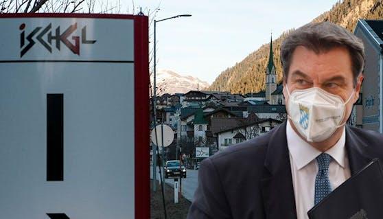 """Bayerns Ministerpräsident Söder warnt vor """"zweitem Ischgl"""" wegen der Virus-Mutation in Tirol."""