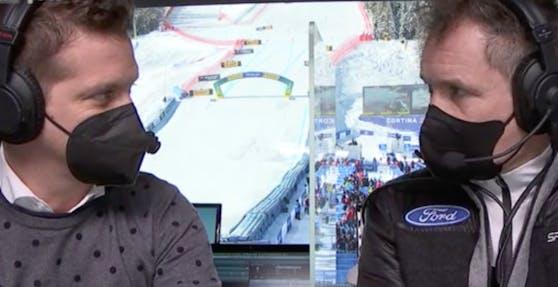 Oliver Polzer und Armin Assinger in ihrer Kommentatoren-Kabine in Cortina.