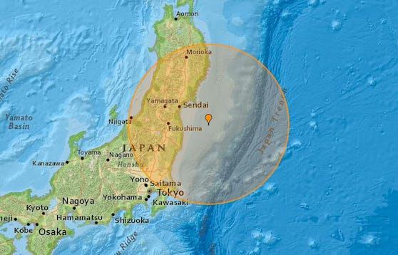 Das Epizentrum soll 90 Kilometer vor der Küste Japans in 54 Kilometern Tiefe gelegen haben
