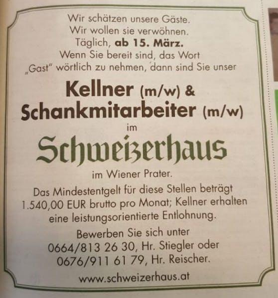 """Das Schweizerhaus-Inserat in der """"Krone""""."""