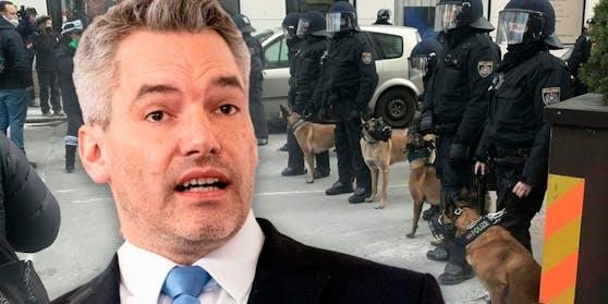 Innenminister Karl Nehammer verteidigt die Polizeiarbeit bei der Corona-Demo in Wien.