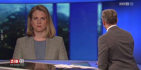 NEOS-Vorsitzende Beate Meinl-Reisinger in der ZIB 2 bei Martin Thür