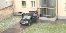 Gemeindebau-Ärger, weil BMW durch Anlage fährt