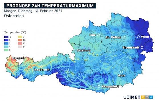Höchstwerte am Dienstag: Kältepole im Osten und Osttirol