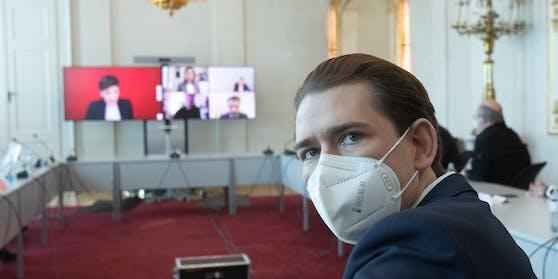 Bundeskanzler Kurz bei der Video-Konferenz mit den Landeshauptleuten am Montag, 15. Februar 2021.