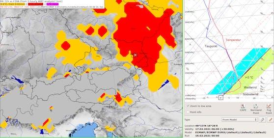 Eisregenrisiko (rot) am Mittwochmorgen und Vertikalprofil über Wien