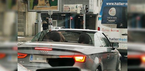 Dieser Cabrio-Fahrer schien die Kälte nicht zu spüren.