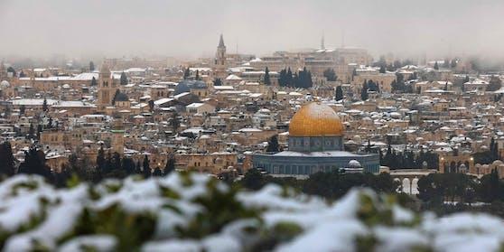 Es war das erste Mal seit Jahren, dass in der israelischen Hauptstadt Schnee fiel.