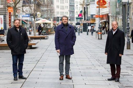 Wollen die Wiener Gastlichkeit wieder wecken: Dominic Schmid, Wolfgang Binder und Peter Dobcak (v.l.).