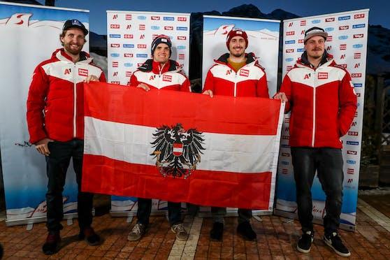 Das ÖSV-Quartett für den Riesentorlauf in Cortina.