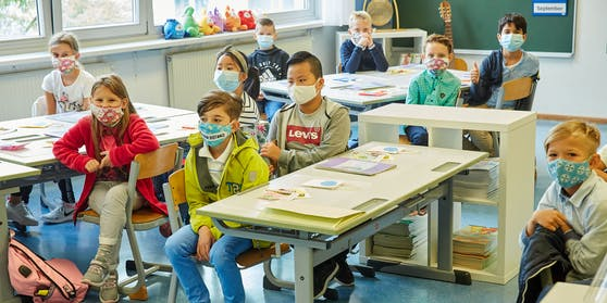 Kinder in einer Volksschule am 7. September 2020