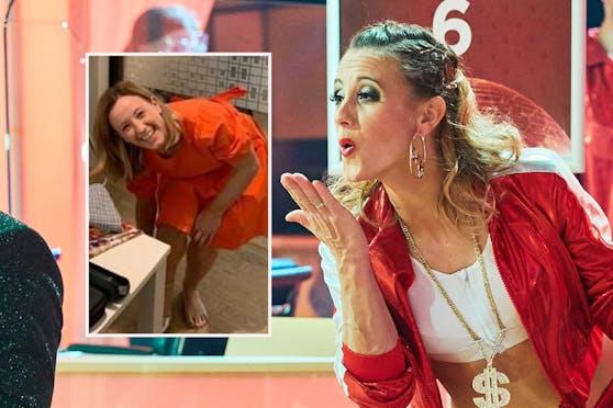 Michi Kirchgasser bei Dancing Stars (r.) und dem Mode-Shooting.