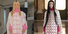 Heidi Klum bastelt sich Kleid - aus Klopapier