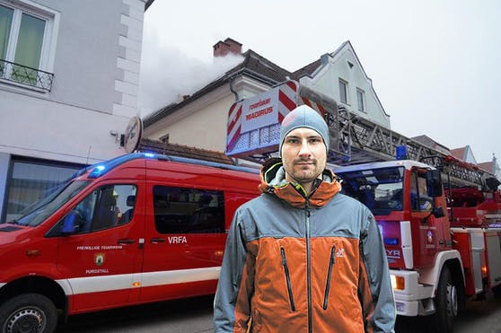 War rasch als Retter zur Stelle: Patrick Brucker von der Feuerwehr Amstetten