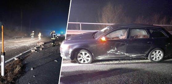 Das Auto des Mannes aus Gmunden wurde auf der Fahrerseite von den Felsbrocken getroffen.