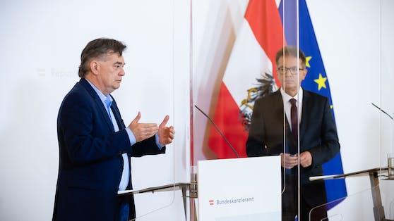 Vizekanzler und Sportminister Werner Kogler und Gesundheitsminister Rudolf Anschober.