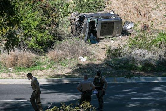 Das schwer beschädigte Unfall-Auto von Tiger Woods.