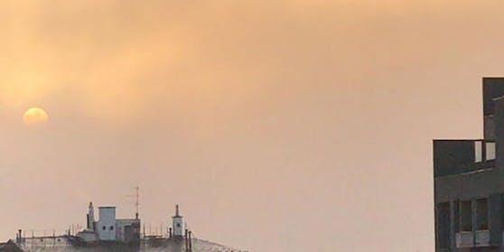 Der heutige Sonnenaufgang im Westen Wiens
