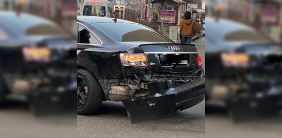 Dieser Audi zog gegenüber einer Bim am Dienstag den Kürzeren.