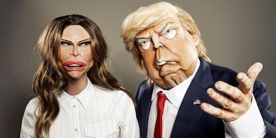 """Die """"Spitting Images"""" von Donald Trump und Ehefrau Melania."""