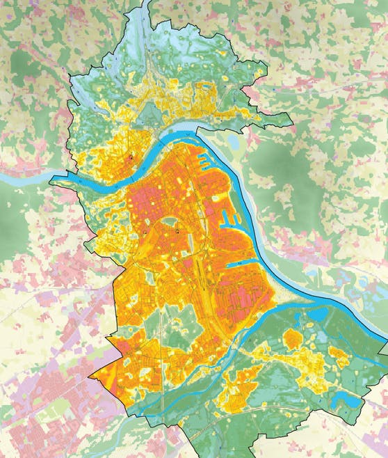 Die Karte zeigt: In der Linzer Innenstadt ist es viel zu heiß, wogegen vor allem im Linzer Süden und ganz im Norden kühle Luft vorherrscht und sogar Frischluft produziert wird.