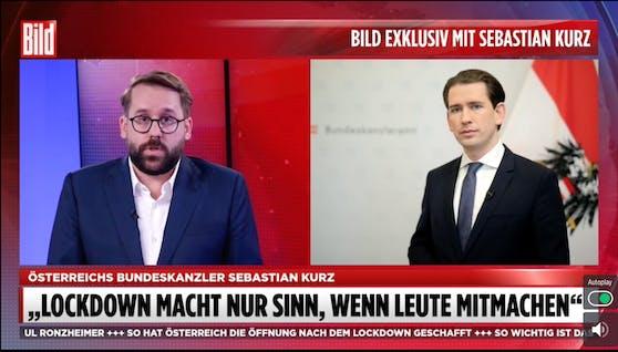 Bundeskanzler Sebastian Kurz im Gespräch mit Bild-Vize Paul Ronzheimer