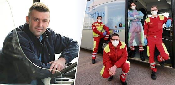 """""""Richi"""" Keren (33) fährt den Bus, das Quartett des Arbeiter-Samariterbund übernimmt die Testung und Auswertung."""