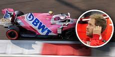 Sebastian Vettel startet doch im rosa gefärbten Boliden