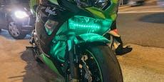 Polizei stoppt Ninja-Biker mit illegalem Tuning-Licht