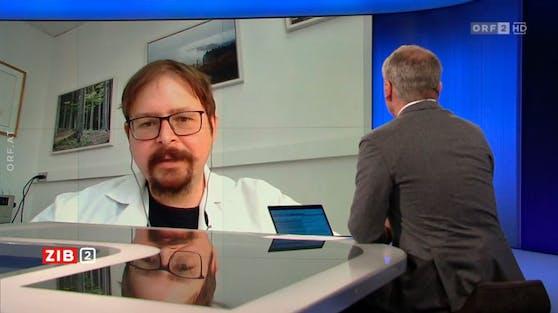 """Impfstoffexperte Florian Krammer in der """"ZiB2"""". Archivbild."""
