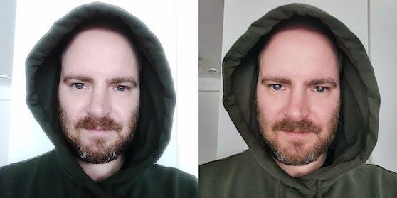 Der Vergleich: Links das Selfie mit dem ZTE Axon 20, rechts mit dem Huawei P30 Pro.