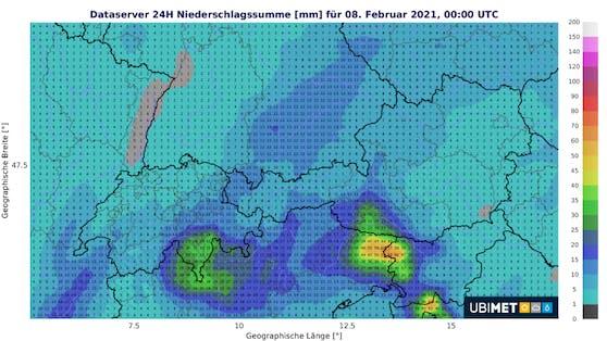 Niederschlagssumme für Sonntag, 7. Februar.