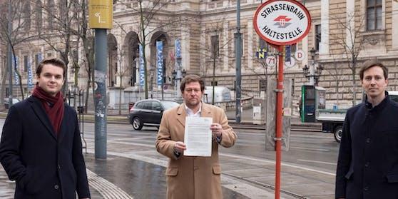 Harald Zierfuß, Wolfgang Kieslich und Nico Marchetti warnen vor Strafen-Fallen in Wiener Öffis.