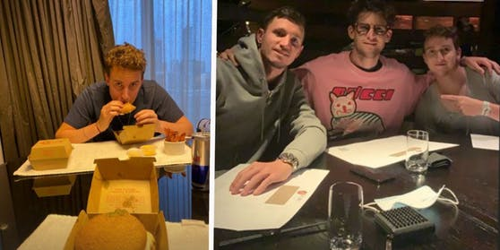 Dominic Thiem fotografiert Bruder Moritz mit Burger, posiert im pinken Pulli zwischen Dennis Novak und Moritz.