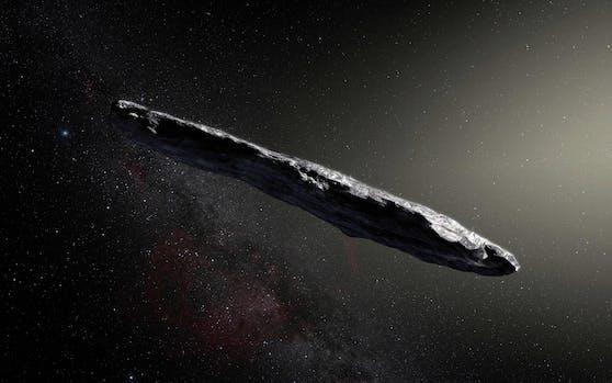 """So könnte """"Oumuamua"""" ausgesehen haben: Der interstellare Flugkörper war rund fünf Mal so lang wie breit."""