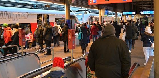 So voll war die Station Wien-Floridsdorf am Montag.