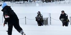 Polizei liefert sich illegale Schneeballschlacht
