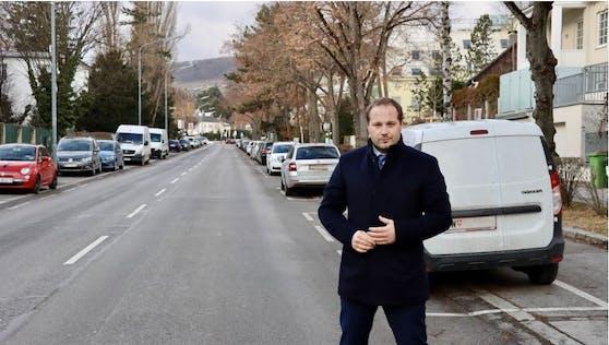 """Der geplante Radweg Krottenbachstraße sorgt für hitzige Debatten. Während sich Döblings Bezirkschef Daniel Resch die """"Absage"""" für den ursprünglichen Plan begrüßt, wollen Neos und Grüne mit anderen Lösungen daran festhalten."""