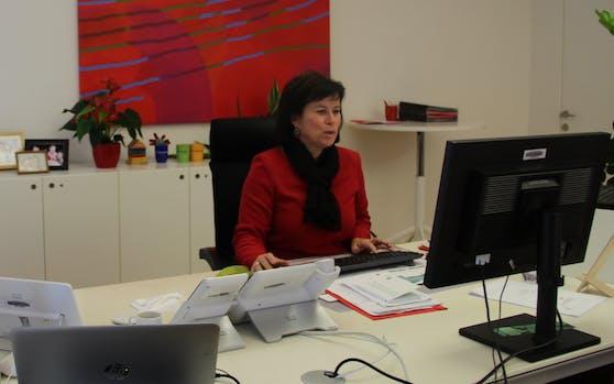 """SPOÖ-Chefin Birgit Gerstorfer beim Zoom-Interview mit """"Heute""""."""