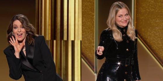 Kilometerweiter Sicherheitsabstand: Tina Fey (li.) und Amy Poehler moderierten zeitgleich aus New York und Beverly Hills.