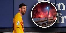 Feuerwerk vor Barca-Hotel, Fan mietete sich ein Zimmer